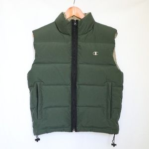 Champion Men's Green Down Feather Puff Vest Small